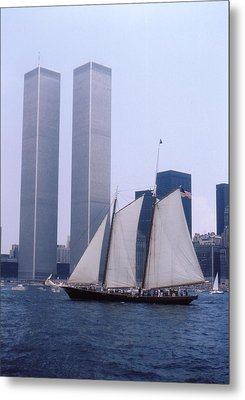 The Twin Towers With The Schooner America 4th July 1976 Metal Print by Terence Fellows
