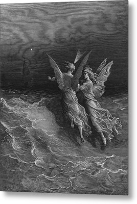 The Two Fellow Spirits Of The Spirit Of The South Pole Ask The Question Why The Ship Travels  Metal Print by Gustave Dore