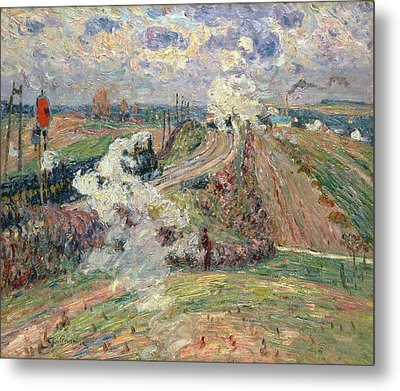 The Two Trains Metal Print by Jean Baptiste Armand Guillaumin