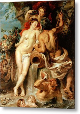 The Union Of Earth And Water. Antwerp And The Scheldt Metal Print by Peter Paul Rubens