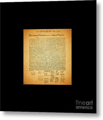 The United States Declaration Of Independence - Square Black Border Metal Print by Wingsdomain Art and Photography