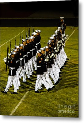 The United States Marine Corps Silent Drill Platoon Metal Print by Robert Bales