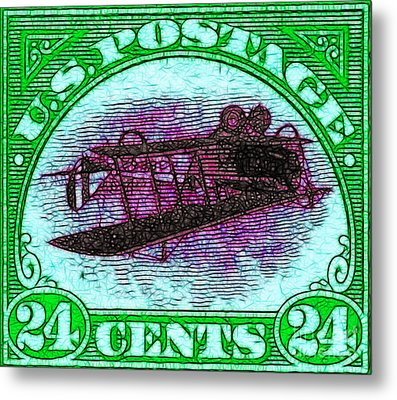 The Upside Down Biplane Stamp - 20130119 - V4 Metal Print by Wingsdomain Art and Photography