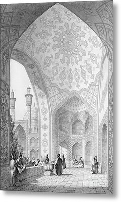 The Vestibule Of The Main Entrance Of The Medrese I Shah-hussein Metal Print by Pascal Xavier Coste