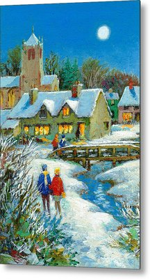 The Village In Winter Metal Print by Stanley Cooke
