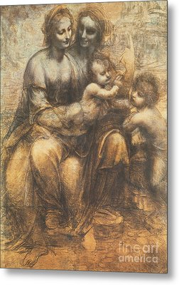 The Virgin And Child With Saint Anne And The Infant Saint John The Baptist Metal Print by Leonardo Da Vinci