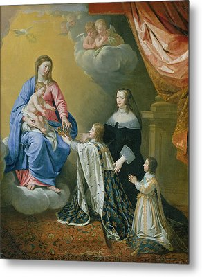 The Virgin Mary Gives The Crown And Sceptre To Louis Xiv, 1643  Metal Print by Philippe de Champaigne