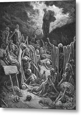 The Vision Of The Valley Of Dry Bones Metal Print by Gustave Dore