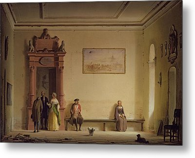 The Waiting Room, 1857 Oil On Canvas Metal Print by Hermann Dyck
