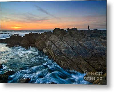 The Watcher - Rocky Asilomar Beach In Monterey Bay. Metal Print by Jamie Pham