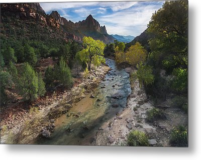 The Watchman In Zion National Park Metal Print by Larry Marshall