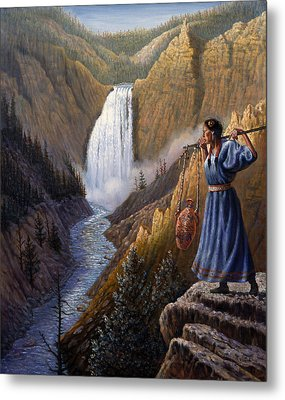 The Water Carrier Yellowstone Metal Print by Gregory Perillo