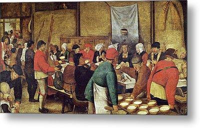 The Wedding Supper Metal Print by Pieter the Younger Brueghel