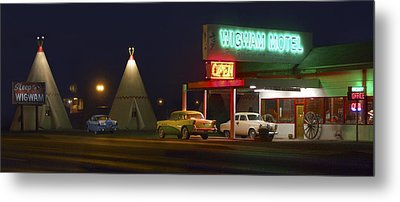 The Wigwam Motel On Route 66 Panoramic Metal Print by Mike McGlothlen