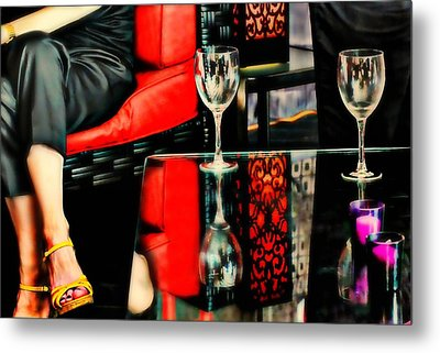 The Wine Bar Metal Print by Diana Angstadt