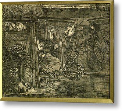 The Wise And Foolish Virgins Etching Metal Print by Sir Edward Coley Burne-Jones
