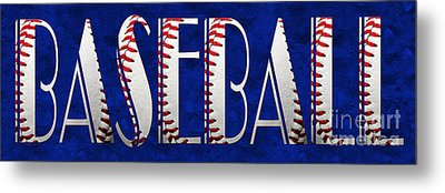 The Word Is Baseball On Blue Metal Print by Andee Design