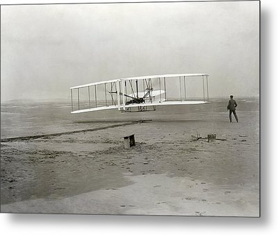 The Wright Brothers' First Powered Metal Print by Science Photo Library