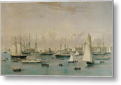 The Yacht Squadron At Newport Metal Print by Nathaniel Currier and James Merritt Ives