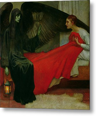The Young Girl And Death Metal Print by Marianne Stokes