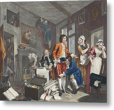 The Young Heir Takes Possession Metal Print by William Hogarth
