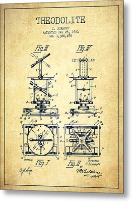 Theodolite Patent From 1921- Vintage Metal Print by Aged Pixel