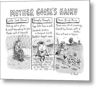 There Are Three Panels With Three Haikus Metal Print by Roz Chast