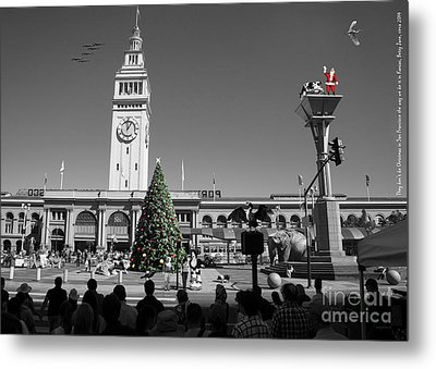 They Dont Do Christmas In San Francisco The Way We Do It In Kansas Betsy Jane Dsc1745 Bw Metal Print by Wingsdomain Art and Photography