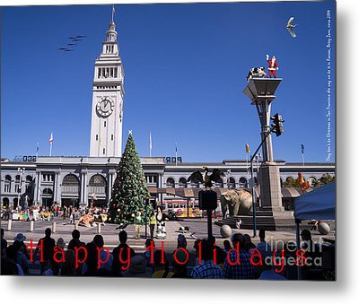 They Dont Do Christmas In San Francisco The Way We Do It In Kansas Betsy Jane Dsc1745 With Text Metal Print by Wingsdomain Art and Photography