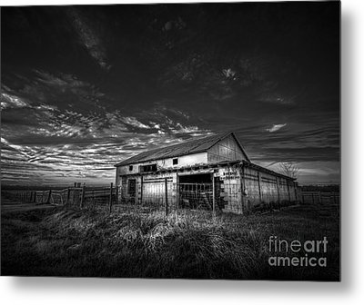 This Old Barn-b/w Metal Print by Marvin Spates