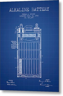 Thomas Edison Alkaline Battery From 1906 - Blueprint Metal Print by Aged Pixel