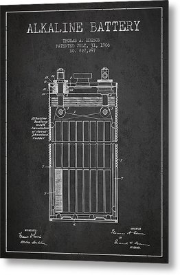 Thomas Edison Alkaline Battery From 1906 - Charcoal Metal Print by Aged Pixel