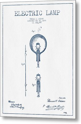 Thomas Edison Electric Lamp Patent From 1880 - Blue Ink Metal Print by Aged Pixel