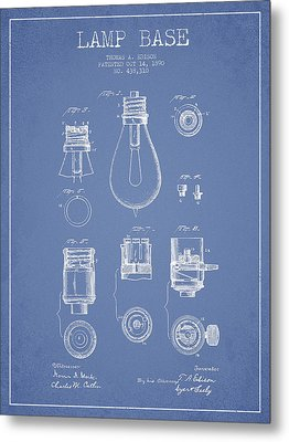 Thomas Edison Lamp Base Patent From 1890 - Light Blue Metal Print by Aged Pixel