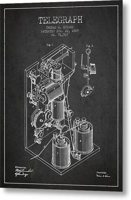 Thomas Edison Telegraph Patent From 1869 - Charcoal Metal Print by Aged Pixel