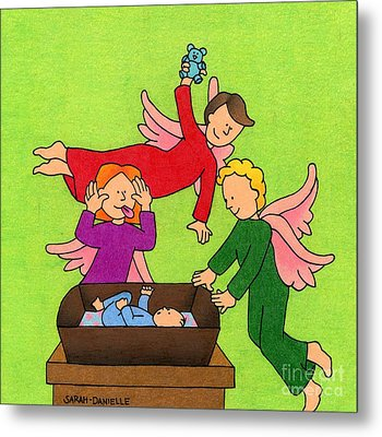 Three Angels And A Baby Metal Print by Sarah Batalka