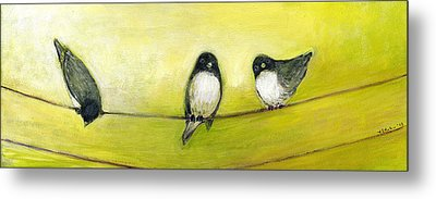 Three Birds On A Wire No 2 Metal Print by Jennifer Lommers