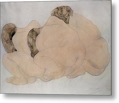 Three Boulders Pencil & Wc On Paper Metal Print by Auguste Rodin