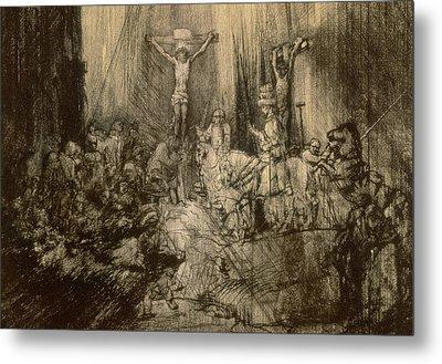 Three Crucifixes Metal Print by Rembrandt Harmenszoon van Rijn