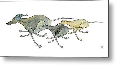 Three Dogs Illustration Metal Print by Richard Williamson