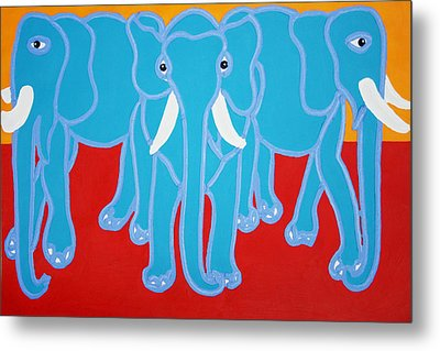 Three Elephants Metal Print by Matthew Brzostoski