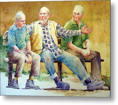 Three Guys On A Bench Metal Print by Janet Flom
