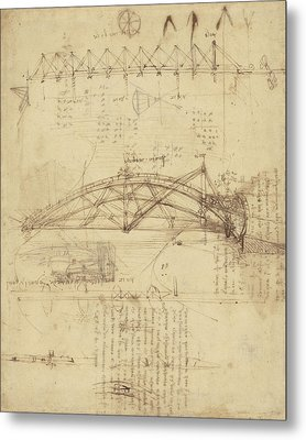 Three Kinds Of Movable Bridge Metal Print by Leonardo Da Vinci