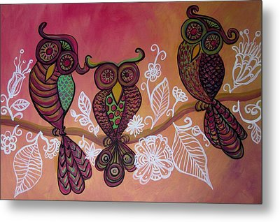 Three Owls Metal Print by Cherie Sexsmith