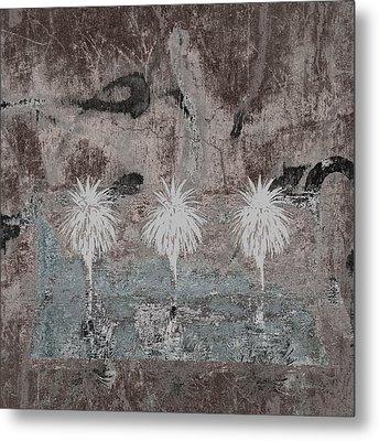 Three Palms Oasis Metal Print by Carol Leigh