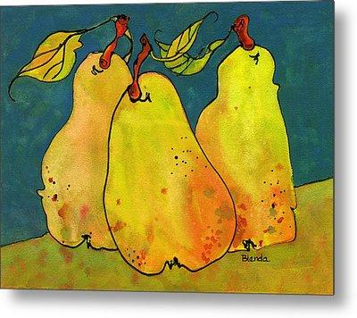 Three Pears Art  Metal Print by Blenda Studio