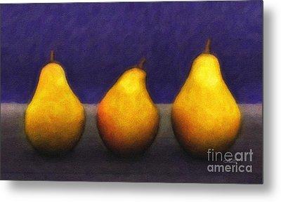 Three Pears Metal Print by Jutta Maria Pusl