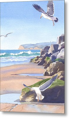Three Seagulls At Coronado Beach Metal Print by Mary Helmreich
