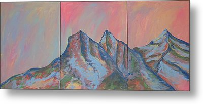 Three Sisters Mountians Alberta Metal Print by Cherie Sexsmith