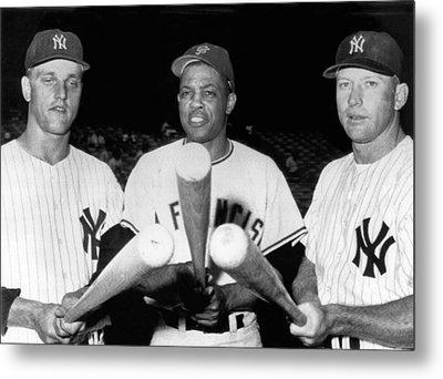 Three Slugging Outfielders Metal Print by Underwood Archives
